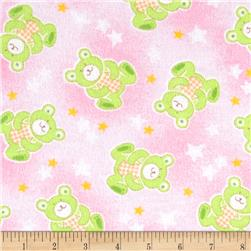 Newcastle Flannel Beary Stars Pink Fabric