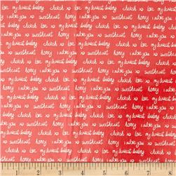 Kaufman Slicker Laminated Cotton Sealed With A Kiss Words Ruby