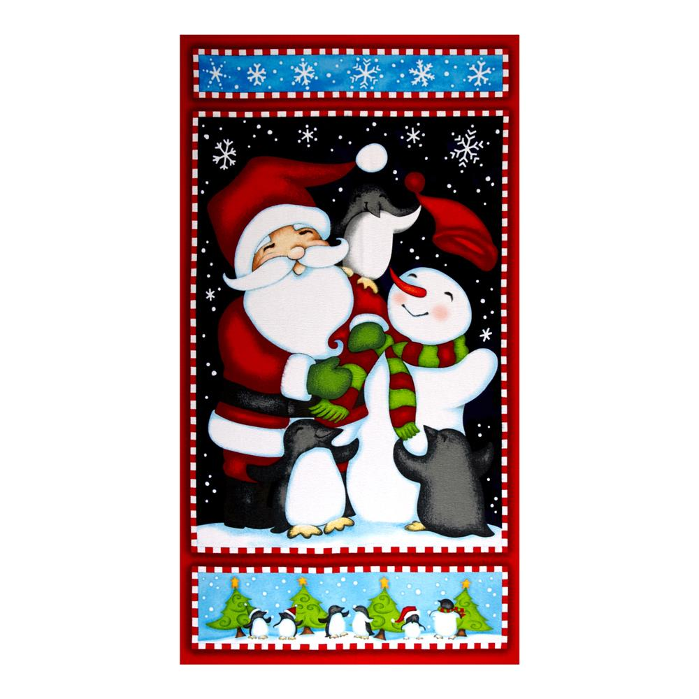 North Pole Greetings Flannel Christmas 23 In. Panel Red Fabric By The Yard