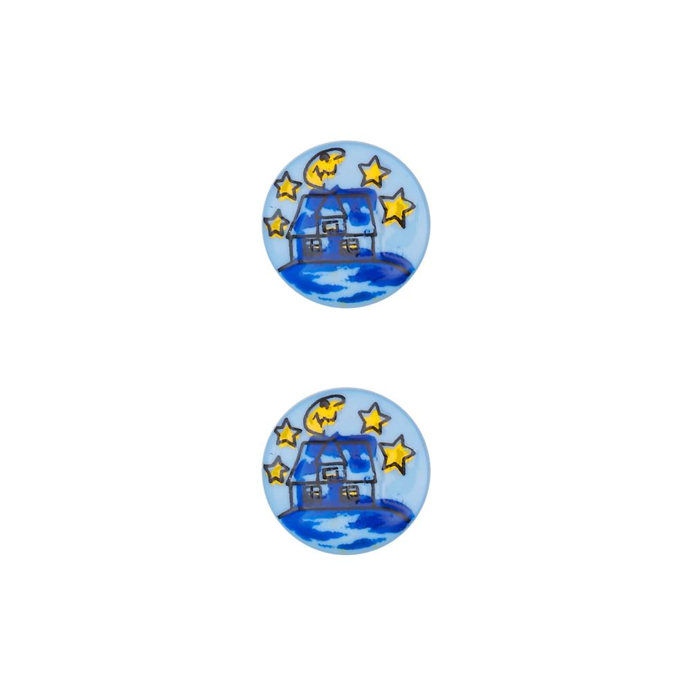 Dill Novelty Button 11/16'' House Blue