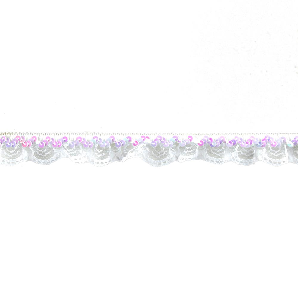 "1"" Stretch Iridescent Sequin And Scallop Ruffle Trim White Aurora Borealis"