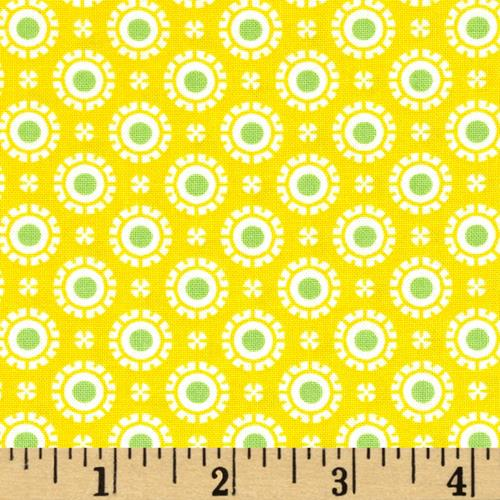 Moda Hi De Ho Fancy Dots Yellow