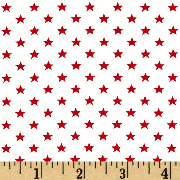 Stars & Stripes II Stars White/Red Fabric