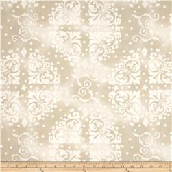 108'' Wide Quilt Backing Medallion Tonal Tan