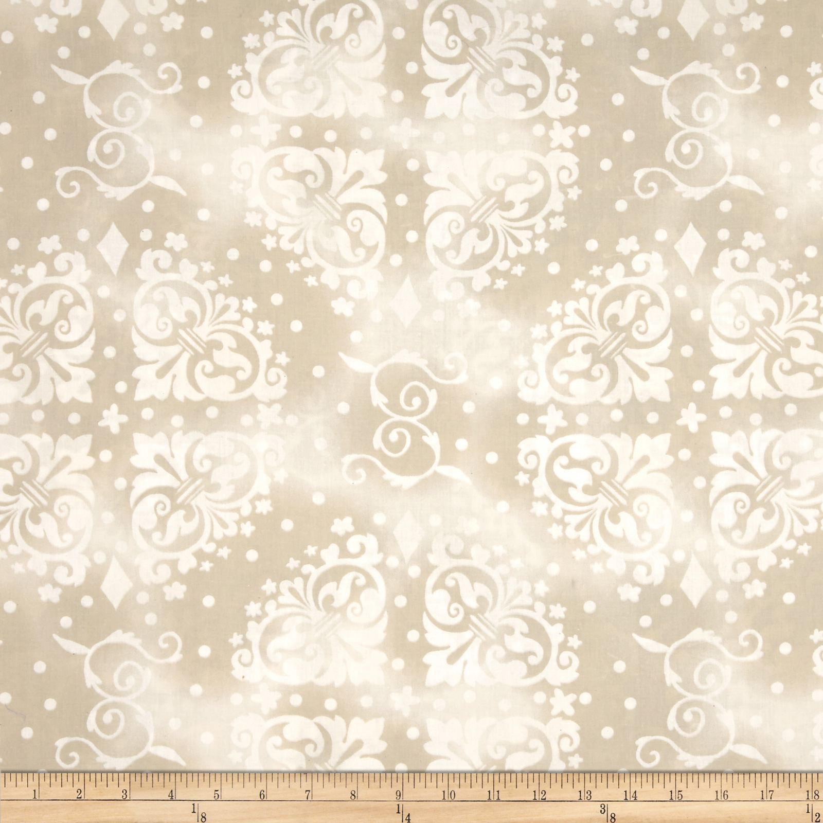 108'' Wide Quilt Backing Medallion Tonal Tan Fabric
