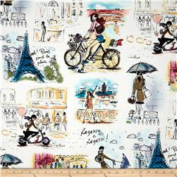 Who's That Girl Paris Collage White
