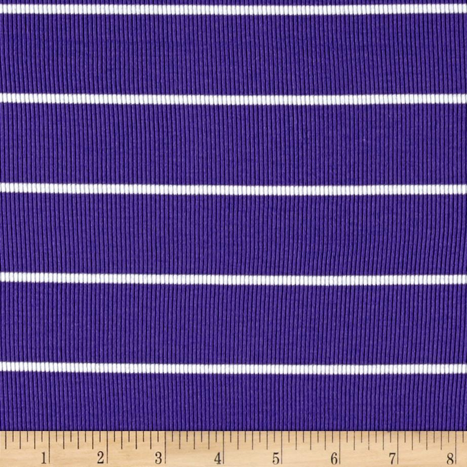 Rib 2x1 Knit Mini White Stripe on Purple