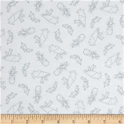 Cotton Tale Flannel Bunny Toile White