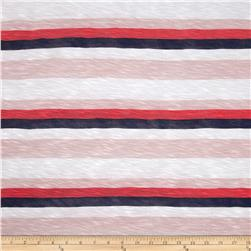 Designer Slub Rayon Jersey Knit Stripes Coral/Blue/White Fabric
