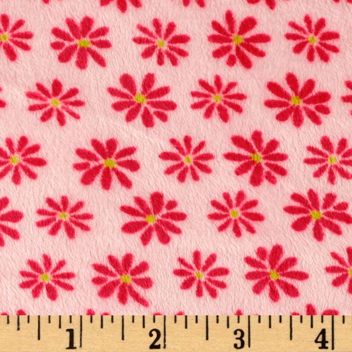 Kaufman Minky Cuddle Blossom Party Pink/Hot Pink Fabric