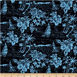 Hoffman Tropicals Sailboats and Flowers Black Fabric