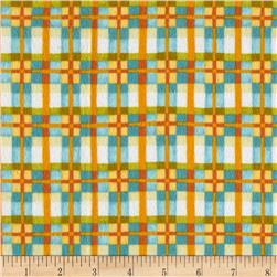 Mischief Flannel Happy Plaid Aqua Fabric