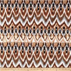 Stretch ITY Jersey Knit Aztec Black/White/Tan Fabric