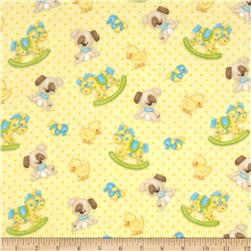 Bear Hugs Flannel Character Toss Yellow