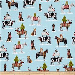 Kaufman Holly Jolly Christmas Animal Collage Digital Print Snow