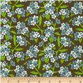 Zinnia Blue Small Floral Brown