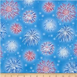 A Nation's Song Fireworks Blue Fabric