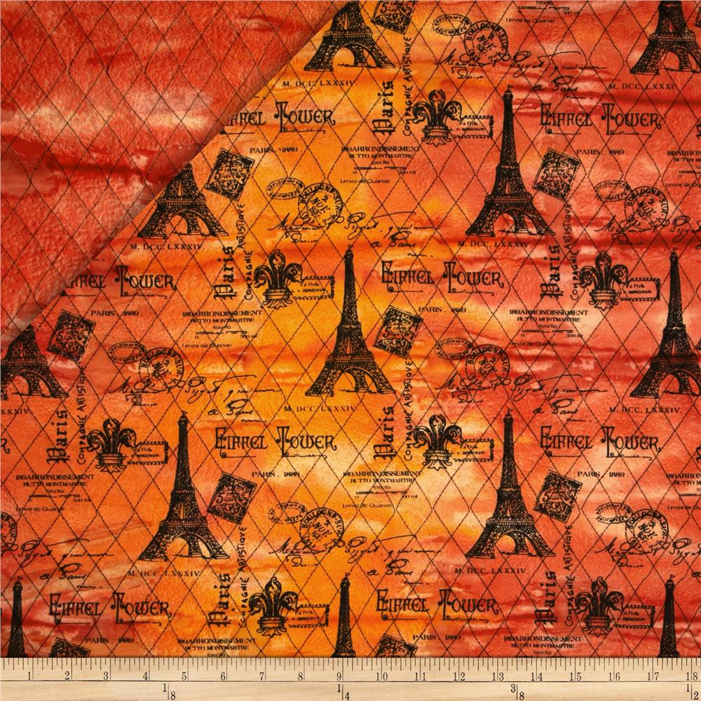 Indian Batik Double Faced Quilted Eiffel Tower Red/Orange