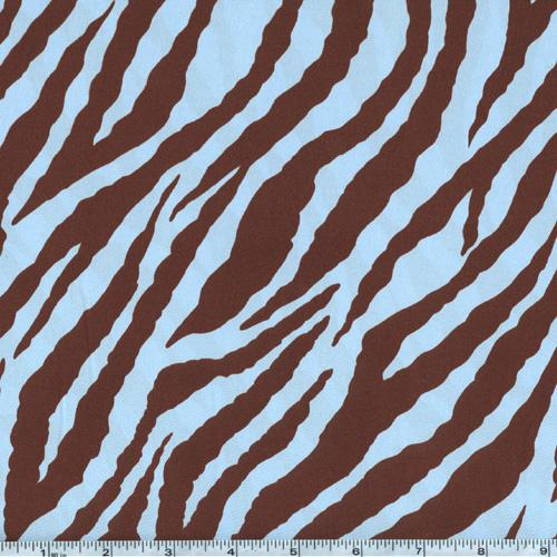 Charmeuse Satin Zebra Blue/Brown