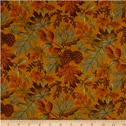 Moda Fall Impressions Flannel Large Leaf Mustard