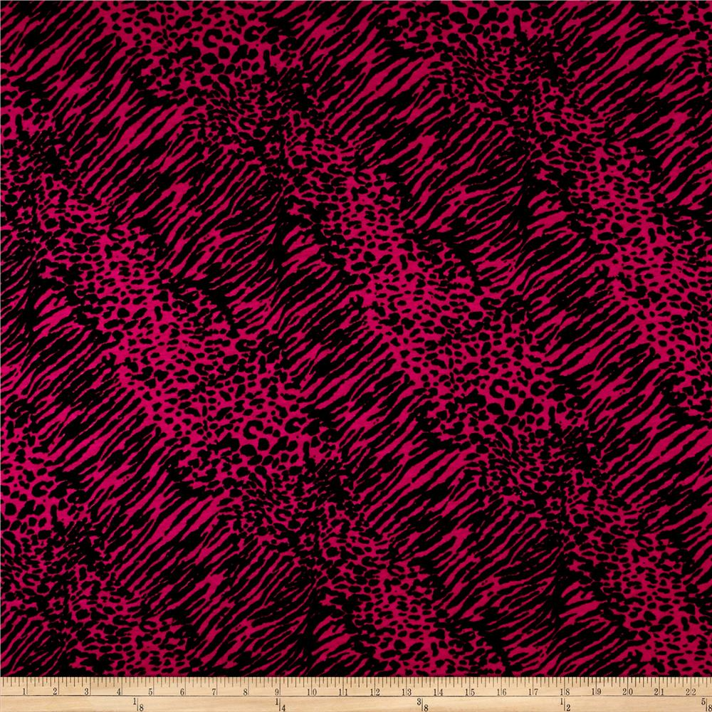 Rayon Jersey Knit Feline Print Fuschia/Black Fabric By The Yard
