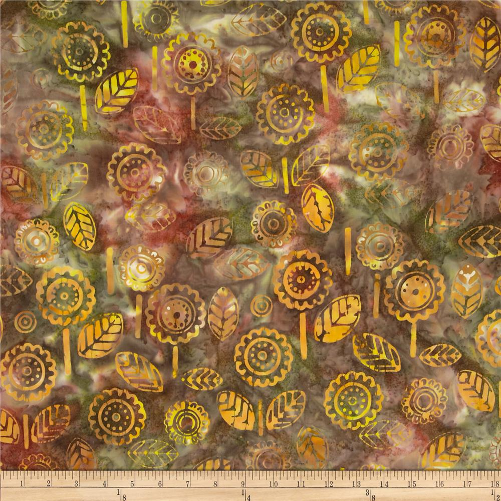 Indonesian Batiks Floral Leaf Yellow/Rust