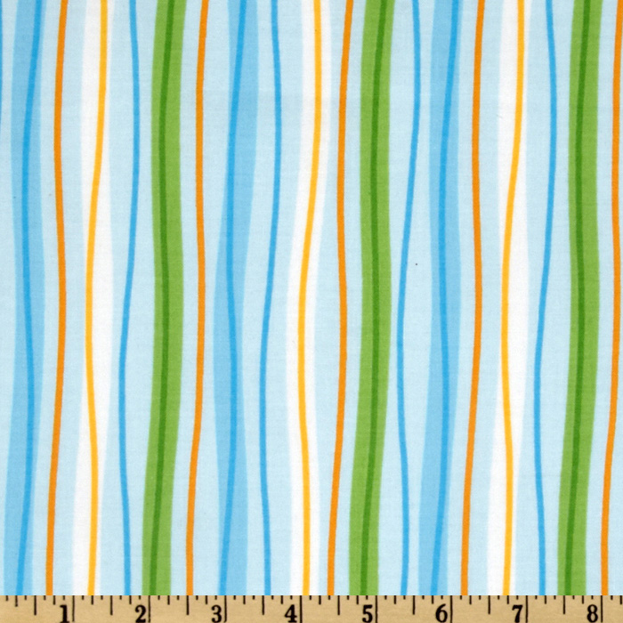 Kaufman Celebrate Seuss 2 Stripes Blue Fabric