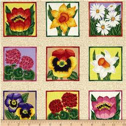Emma's Flower Labels Flower Squares Tan/Multi