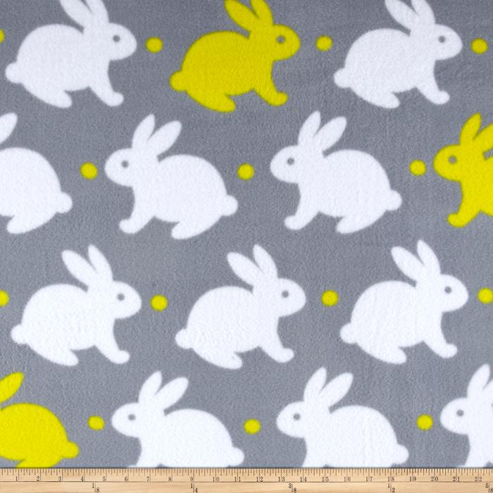 Simply Bedtime Bunny Fleece Grey/Yellow Fabric By The Yard
