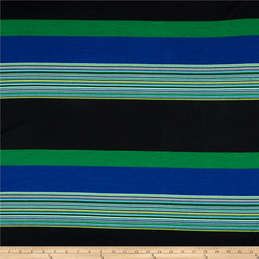 Jersey Knit Assorted Stripes Black/Lime/Green/Blue