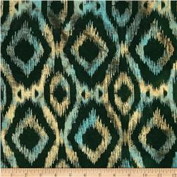 Printed Indian Batik Flannel Ikat Green/Multi