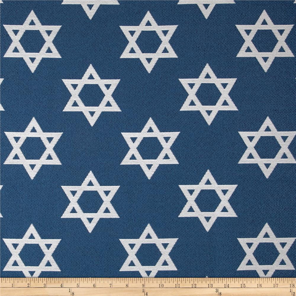 Star of david jacquard blue discount designer fabric for Star design fabric