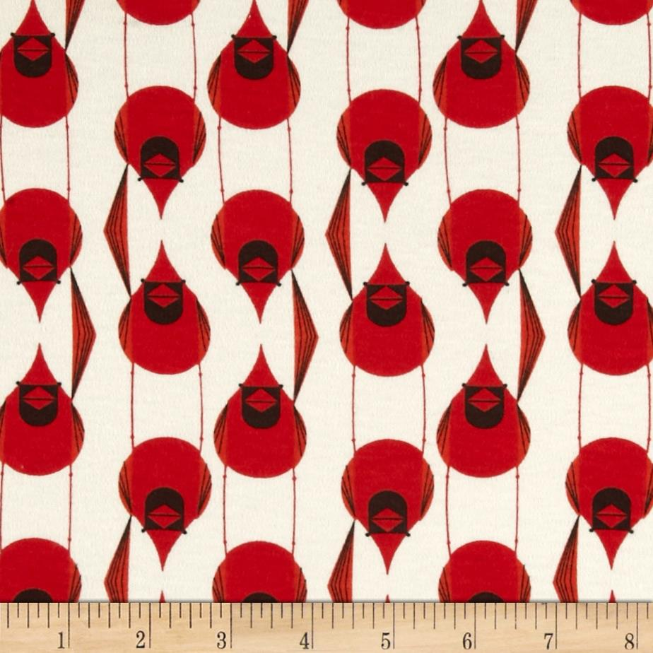Birch Organic Interlock Knit Charley Harper Cardinal Stagger Red/Cream