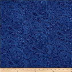 "108"" Wide Quilt Back Chelsea Dot Paisley Navy"