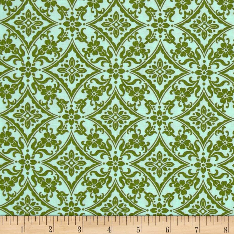 Palm Court Scroll Aqua