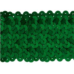 "1-3/4''"" Metallic Stretch Sequin Trim Green"