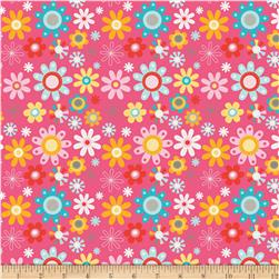 Riley Blake Girl Crazy Floral Pink Fabric