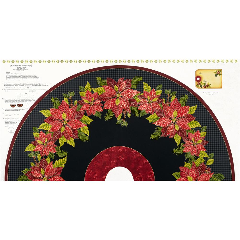 Winter Sanctuary Tree Skirt Panel Black