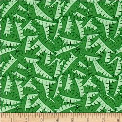 Contempo Dino Age Tossed Leaves Green