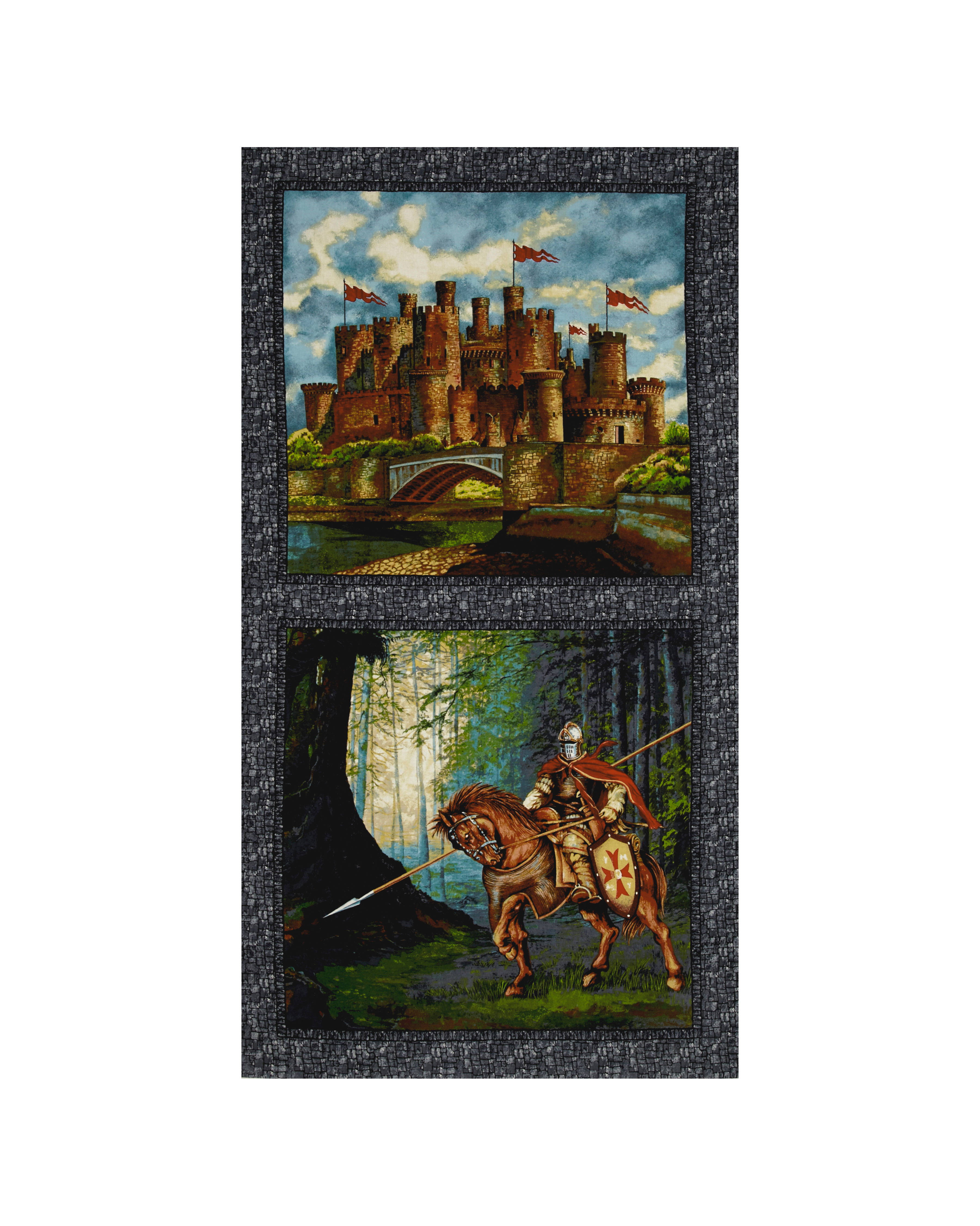 Through the Ages Castle and Soldier 24 In. Multi Fabric by Exclusively Quilters in USA
