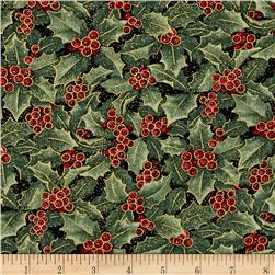 Chickadees and Berries Metallic Holly and Berries Multi
