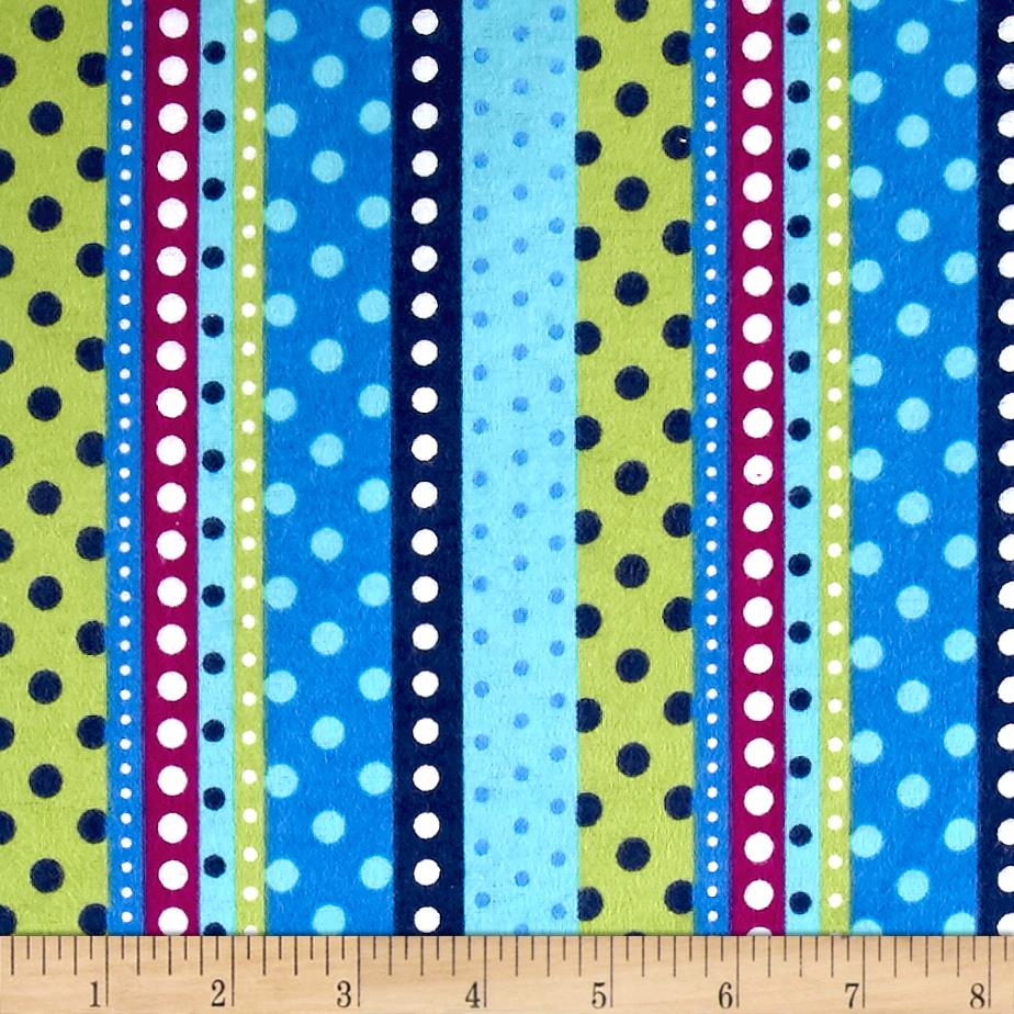 Flannel Dotted Stripe Lagoon Fabric