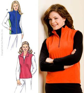 Kwik Sew Misses Zippered Vests Pattern