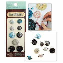 Laliberi Fabric Button Brads Assorted Dark