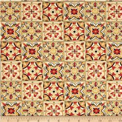 Bohemian Roosters Tiles Red/Orange
