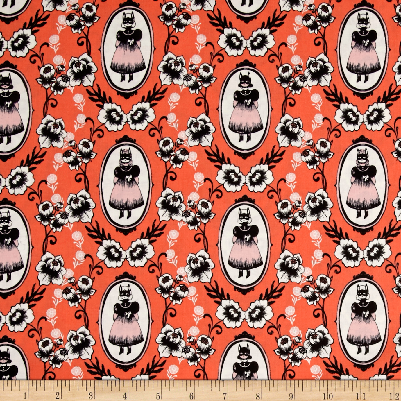 Image of Cotton + Steel Boo Ophelia Coral Fabric