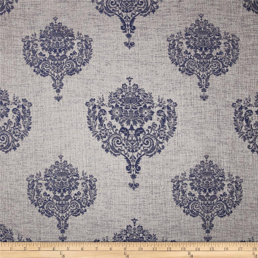 KasLen Allesio Metallic Damask Jacquard Midnight
