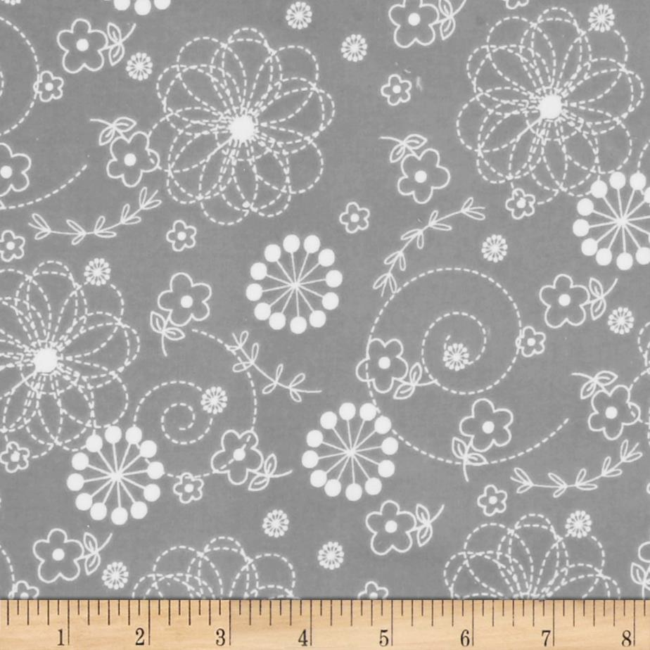 Kimberbell Little One Flannel Too! Doodles Grey Fabric By The Yard