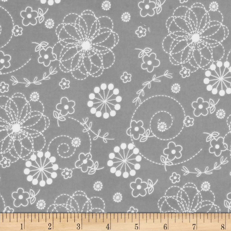 Kimberbell Little One Flannel Too! Doodles Grey Fabric by E. E. Schenck in USA