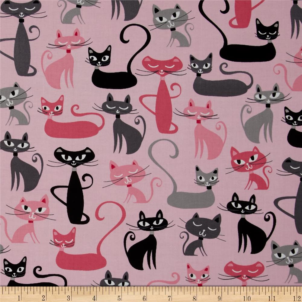 Kaufman Whiskers & Tails Cats Allover Pink